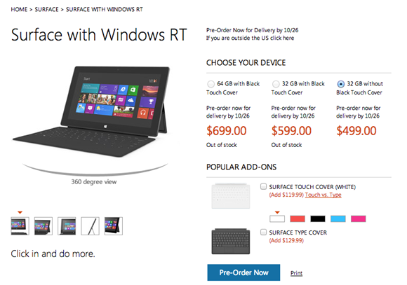 Microsoft Surface with Touch Cover price