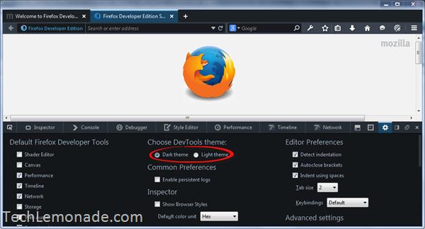Firefox Developer Edition DevTools theme