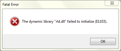 "The dynamic library ""rld.dll"" failed to initialize (E1103)"