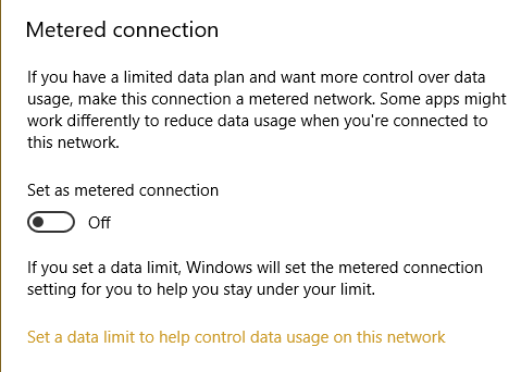 Turn Off Metered Connection